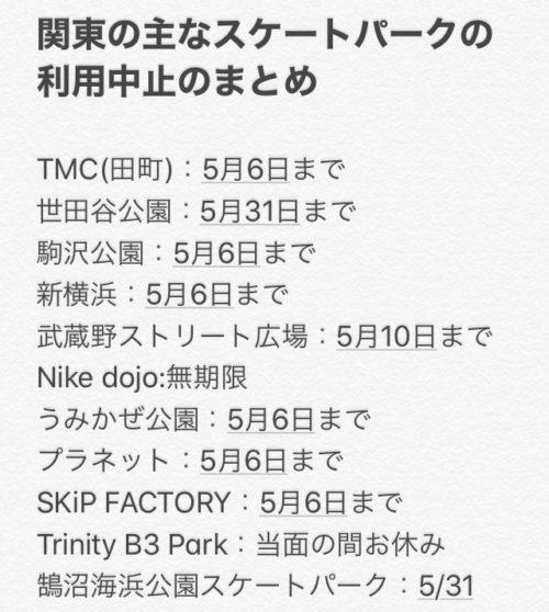 Temporarily Closed near tokyo skate park